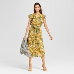 Womens Yellow Floral Midi Dress